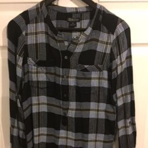 Lucky Black, White & Blue Plaid Flannel Blouse